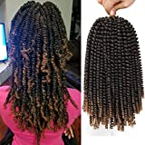 12 inch Spring Twist Crochet Braids Hair for Butterfly Locs Bomb Twist Crochet Hair Beyond Beauty Ombre Colors Synthetic Fluffy Hair Extension 3 Packs (12 Inch, M1B 27)