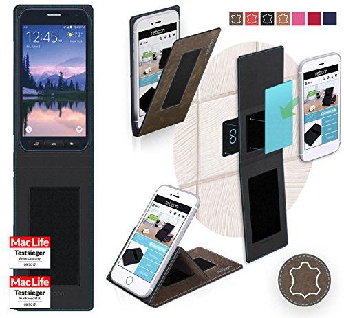 Hülle für Samsung Galaxy S6 Active Tasche Cover Hülle Bumper   Braun Wildleder   Testsieger