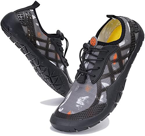 Zapatos de Agua Hombre Mujer Zapatos de Deportes Acuaticos Secado Rápido Zapatillas de Natación Zapatos de Playa de Verano para Buceo Piscina Surf Yoga, 028 Gris, 43 EU