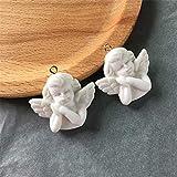 None/Brand 5 Piezas White Wing Angel 3D encantos de Resina para joyería S hallazgos Lindo Collar de niña Colgante Pendientes de Gota Accesorio F348