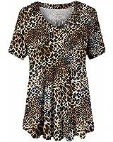 U.Vomade Women Leopard Print Shirt Short Sleeve Plus Size Tops Leopard Print 2 2X