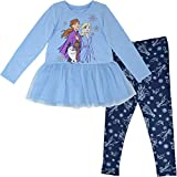 Disney Frozen Toddler Girls Elsa Anna Olaf T-Shirt and Tulle Leggings Set 4T Light Blue