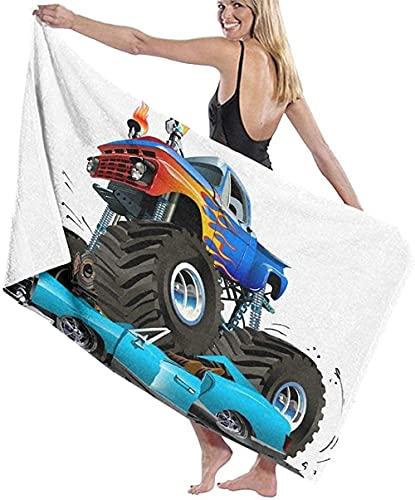 Toalla de Playa Grande 80x130cm,Camión Monstruo de Dibujos Animados ,Toalla Microfibra,Suave,Absorbente Viaje Toallas de Mano de Hombres,Niños,Natación,Playa,Camping