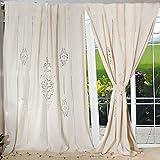 OurWarm Elegant Cotton Blackout Curtains Natural Linen Curtain Panels for Living Room Bedroom Handmade Crochet...