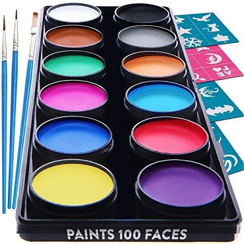 Face Paint Kit for Kids – 30 Stencils, 12 Large Washable Paints, 3 Brushes, Safe Facepainting for Sensitive Skin, Professional Quality Body & Face Facepaints - Halloween Makeup Paint Supplies