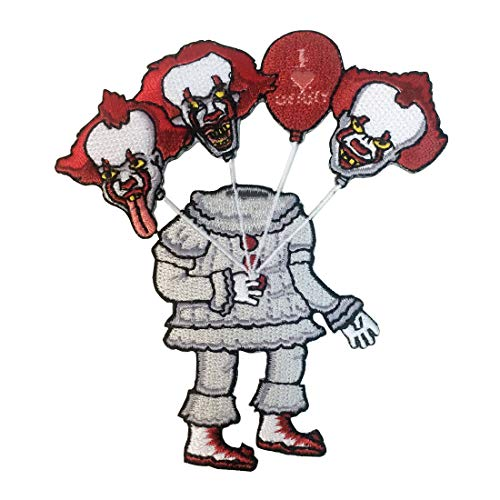 Creepy Headless Clown with Bouquet of Clown Head Balloons Horror Movie Parody - Iron on Embroidered Patch Applique