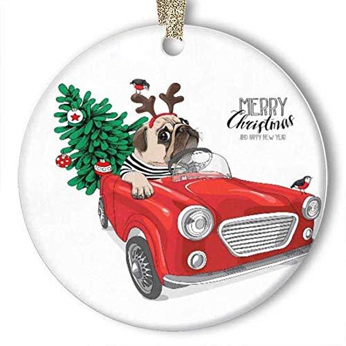 EaYanery - Adorno de cerámica para coche con diseño de perro carlino y ciervo (redondo)