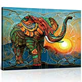 TONZOM Colorful Elephant Wall Art Decor Animals Oil Painting Painted Prints Wall Decor Art Decor Gift(12x16inch