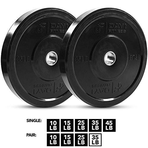 """Day 1 Fitness Olympic Bumper Weighted Plate 2"""" For Barbells, Bars –  35 lb Set of 2 Plates -..."""