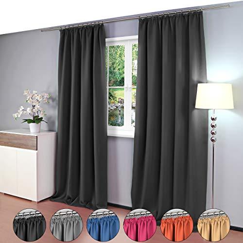 Gräfenstayn® Alana - cortina térmica opaca de un solo color Cortina de oscurecimiento con cinta de cortina universal - 135 x 245 cm - muchos colores atractivos (Negro)