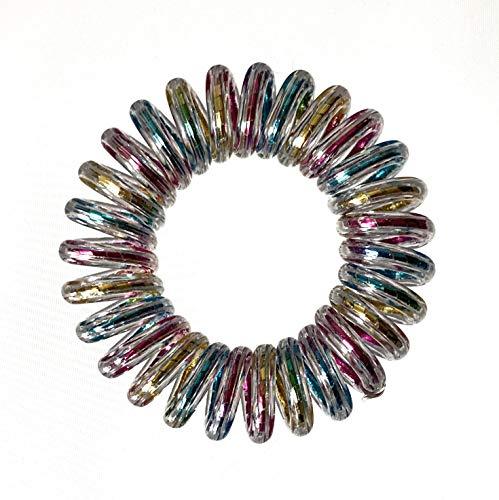 10er Set Spiral Haargummi - Haargummis für weniger Spliss und gebrochene Haare - Haargummi Spirale für feine Haarpartien - Telefonkabel Spiralhaargummi, Regenbogen, 3,5 cm