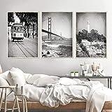 MYSY San Francisco Wall Art Schwarz-Weiß-Poster drucken