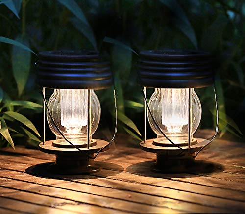 """pearlstar Solar Lanterns Outdoor Hanging Solar Lights with Handle for Pathway Yard Patio Garden Decoration, Waterproof Outside Solar Table Lamp, 30Lumen (8.3""""-2 Pack)"""