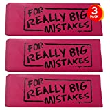 ArtCreativity Pink Mistake Erasers for Kids, Pack of 3, Really Big Wedge Erasers, 5.5 Inch Giant Pencil Rubber, Cool Back to School Stationery Supplies for Boys and Girls, Joke Gag Gifts for Adults