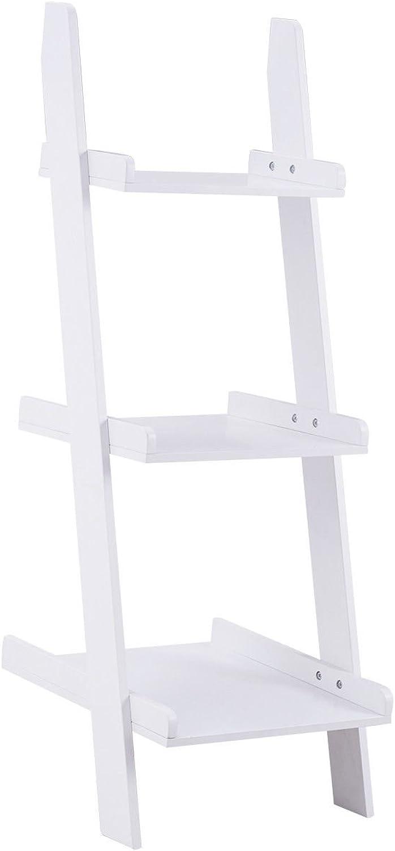 Giantex 3-Tier Leaning Wall Bookshelf Ladder Storage Display Bookcase Ladder Shelf Plant Flower Stand Shelf White