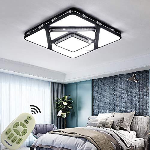 Dimmbar LED Deckenleuchten Ultra dünn 64W Modern Deckenlampe Energiespar Licht Moderner minimalistischer für wohnzimmer küche 3000-6500K Schwarz Farbe