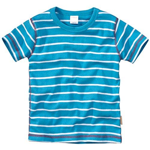 wellyou, Kinder Kurzarm T-Shirt, türkis-Weiss, Geringelt, für Jungen und Mädchen, 100% Baumwolle, Größe 128-134