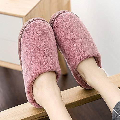 SWX-FlipFlop Zapatillas de algodón cálidas para el hogar Pareja Simple Fondo Grueso para el hogar Vino Tinto cálido para Hombres 36/37 (Adecuado para 35/36 pies)
