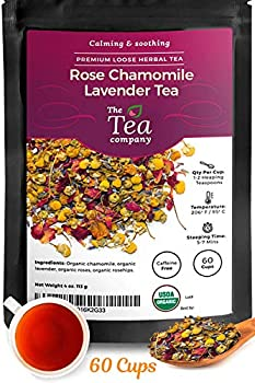 Rose Chamomile Lavender Herbal Tea for Stress Relief and Bedtime - Makes 60 Cups of Calming and Relaxing Caffeine Free Loose Leaf Organic Tea by The Tea Company 4oz