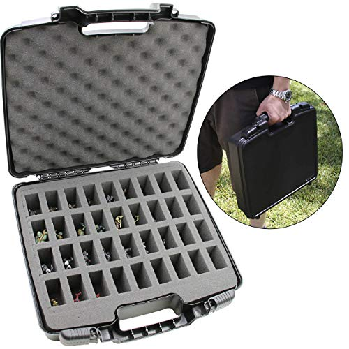 CASEMATIX Hard Shell Miniature Storage Travel Case - 36 Figurine Miniature Organizer and Miniatures Carrying Case with Protective Foam Interior for Dungeons & Dragons, Warhammer 40K Minis and More!