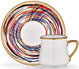 (10 Colors) Handmade Stunning Espresso & Turkish Coffee Demitasse Cup Saucer Set of 6, 12 Pieces, 3.3 Ounces (Adriana)