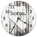 DoreenAbe 15' Classic Wood Clock, Non Ticking Clock Vintage Nevada State Home Clock Black and White Rustic Clock Wooden Decorative Round Wall Clock