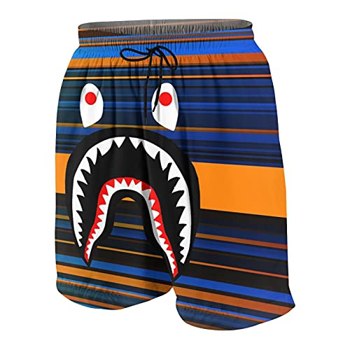 NiYoung Cargo Short for Men, Half Pants Full Elastic Waist Plus Size Sportwear for Beach Gym Workout, Abstract Striped Blue Brown and Orange Bapes Shark Shorts with Adjustable Drawstring, Quick Dry
