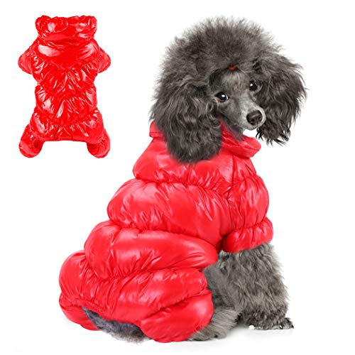 Winter Puppy Dog Coat Jacket for Small Medium Dogs Reflective Cozy Waterproof Windproof Dog Snowsuit Cute Warm Fleece Padded Cold Weather Pet Clothes for Chihuahua Poodles French Bulldog