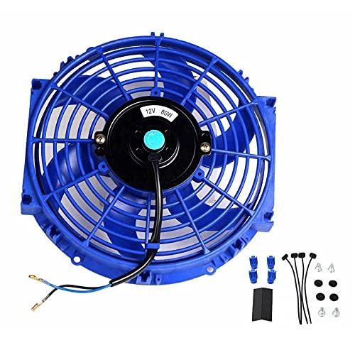 Universal 10 inch Slim Fan Push Pull Electric Radiator Cooling 12V 80W Mount Kit Blue