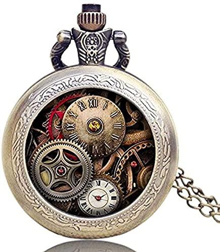 ZPPYMXGZ Co.,ltd Collar Reloj de Bolsillo Diseño Antiguo Engranaje Reloj de Bolsillo Reloj de Cuarzo para Hombre Regalos