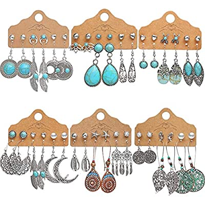 36 Pairs Boho Fashion Turquoise Drop Dangle Earrings Set for Women Girls Bohemian Vintage Hollow Waterdrop Statement Silver Stud Earrings with Heart Pearl Feather Moon Jewelry for Gifts