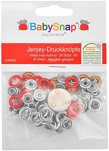 BabySnap Jersey Druckknöpfe (10,5mm) (Rot (B01))
