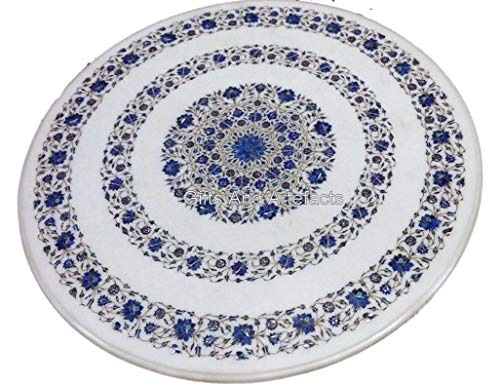 Gifts And Artefacts 36 Inches Marble Restaurant Table Top White Dinning Table with Lapis Lazuli Semi Precious Stones