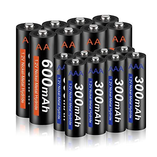 XINGWEI Akku AA 600mAh + Akku AAA 300mAh 1,2V AAA NI-MH Aufladbare, 1200 Ladezyklen Akkubatterien geringe Selbstentladung, 16 Stück
