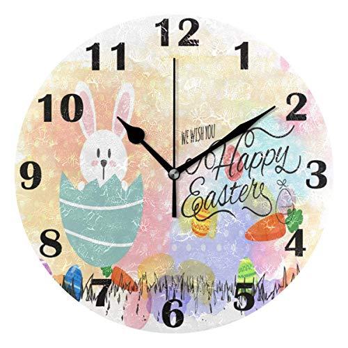 Jacque Dusk Reloj de Pared Moderno,Huevos de Conejito Feliz día de Pascua,Grandes Decorativos Silencioso Reloj de Cuarzo de Redondo No-Ticking para Sala de Estar,25cm diámetro