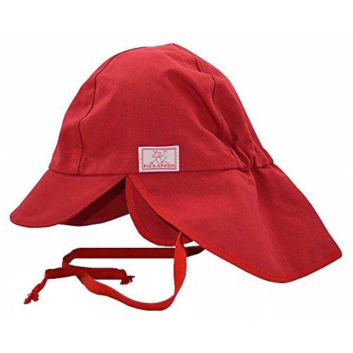 PICKAPOOH Baby/Kinder Sonnenhut/Sonnenmütze Tom mit UV-Schutz aus Reiner Bio-Baumwolle, Rot Gr. 42
