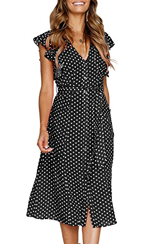 MITILLY Women's Summer Boho Polka Dot Sleeveless V Neck Swing Midi Dress with Pockets