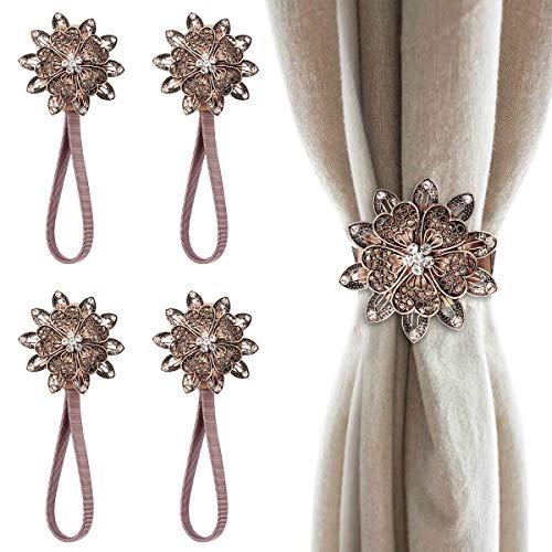 PHILORN 4 Stück Vorhangschnalle, Kristallene Blume Magnetisch Raffhalter für Gardinen, Vorhang Raffhalter Mit Stark Frühlingsseil Für Heim- und Bürodekoration
