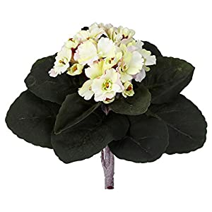 "Nearly Natural 9"" African Violet (Set of 6) Artificial Plant Cream"