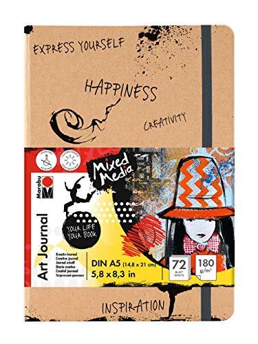 Marabu 1612000000100 - Notebook Art Journal, 180 g/qm, 72 Blatt, DIN A5, naturweiß, Papier fein gekörnt, matt, säurefrei, lichtbeständig, hochwertige Fadenbindung und Falttasche innen