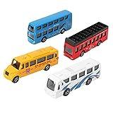Zerodis 4pcs 1:64 Escala VB8711 Aleación de Simulación Tirar de Autobús Set Miniatura Modelo Colorido Autobús con Ruedas Móviles Regalo para Niños