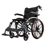 ZXL@ED Schwarz Eigenantrieb Rollstuhl, Folding Tragbarer Hochfeste Aluminiumlegierung Stoßdämpfer Polierrad Erwachsene -