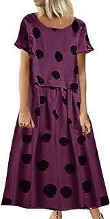 Women O-neck Short Sleeve Maxi Dress ❀ Ladies Vintage Floral Printed Plus Size Long Dress Casual Dress