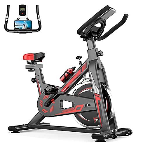 WOERD Transmisión por correa ultra silenciosa para bicicleta, volante de inercia para interior con pantalla, bicicleta de fitness inteligente con soporte para teléfono móvil/tableta,