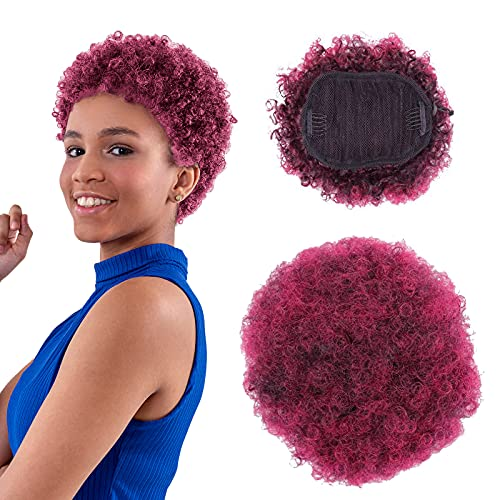 Afro Puff Drawstring Ponytail, Natural Hair Buns Piece Synthetic Short Synthetic Afro Puff Ponytail Donut Chignon Hairpieces Wig for Black Women