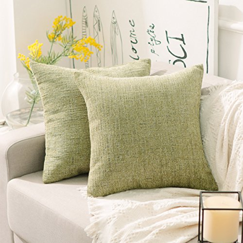 Home Brilliant Cushion Cover with Zipper for Bed Spring Decor Striped Supersoft Chenille Velvet Plush Decorative Throw Pillow,2 Packs 18x18 inch (45cm), Fresh Grass Green