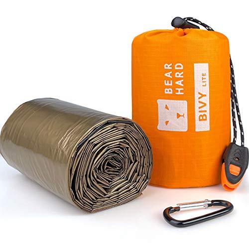Bearhard Biwaksack Notfall Schlafsack Ultraleichter wasserdichter Thermal Survival Notfallausrüstung mit Wärmespeicherung Einheitsgröße für Camping, Wandern, Rucksackwandern für 2 Personen