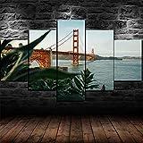 AWER 5 Piezas Cuadro de San Francisco del puente Golden Gate Cuadros Moderno HD Póster para Pared Decoración Modulares Salón Decoración Para Hogar Listo para Colgar en un Marco