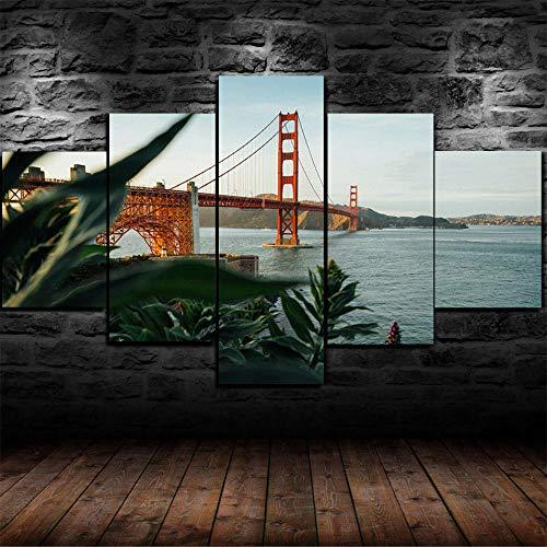 TOPRUN Cuadro Moderno En Lienzo 5 Piezas XXL Puente Golden Gate San Francisco HD Abstracta Pared Imágenes Modulares Sala De Estar Dormitorios Decoración para El Hogar 150X80Cm