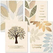 Foil Falling Leaves Sympathy Cards - Set of 8 (4 Designs), Large 5